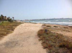 Bild taget från kusten vid mar azul, Torrevieja i horisonten.